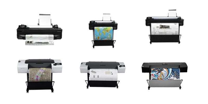 Photo of small, medium, large plotters and printers