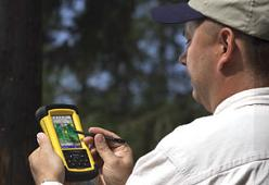 Photo of trimble ultra-rugged handheld computer for forestry.