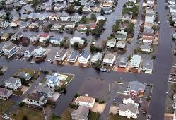 NYC suburbs flooded By Hurricane Sandy 2012.